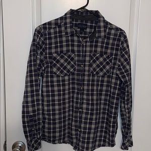 Lucky Brand plaid navy blue and white button down